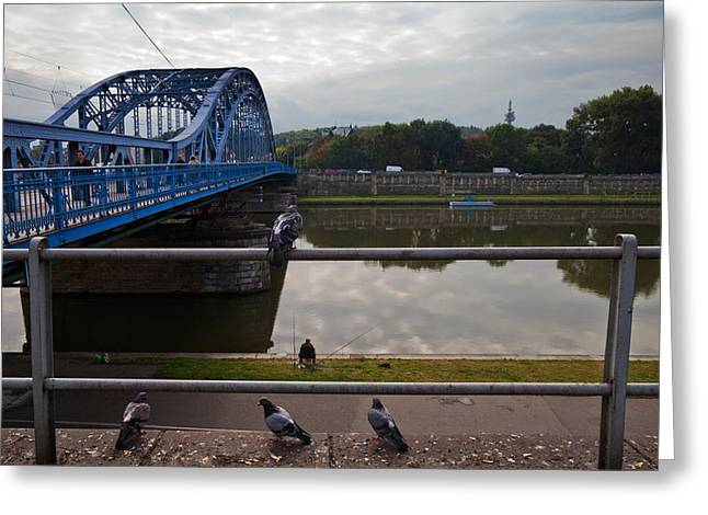 Krakow Greeting Cards - The Most Pilsudskiego Bridge Greeting Card by Panoramic Images