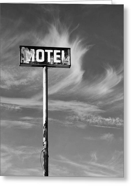 E Black Greeting Cards - THE MOTEL SIGN BW Palm Springs Greeting Card by William Dey