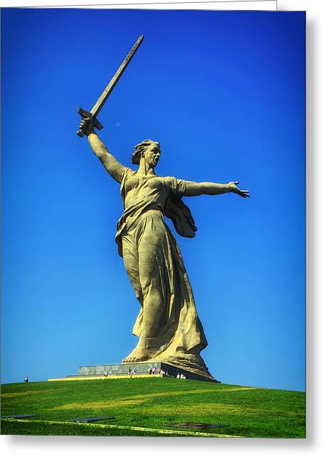 Historic Statue Greeting Cards - The Motherland Calls Greeting Card by Mountain Dreams