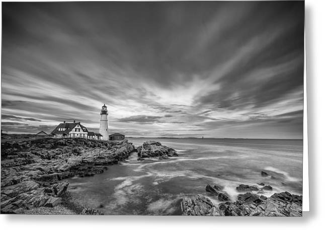 Ocean Black And White Prints Greeting Cards - The Motion of the Lighthouse Greeting Card by Jon Glaser