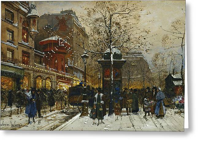Mid-adult Greeting Cards - The Moulin Rouge Paris Greeting Card by Eugene Galien-Laloue