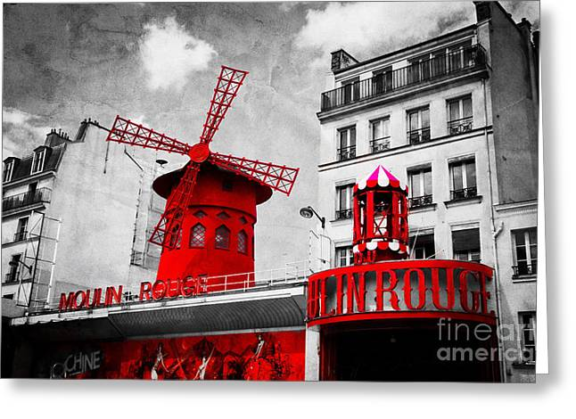 Cafe City Lights Greeting Cards - The Moulin Rouge vintage retro depiction in black and white with red elements Greeting Card by Michal Bednarek