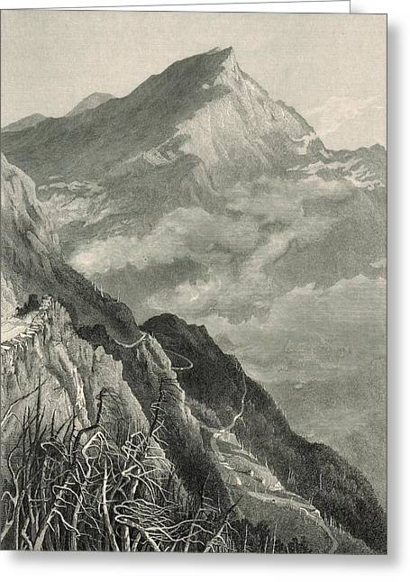 Mt Drawings Greeting Cards - The Mount Washington Road and White Mountains 1872 Engraving Greeting Card by Antique Engravings