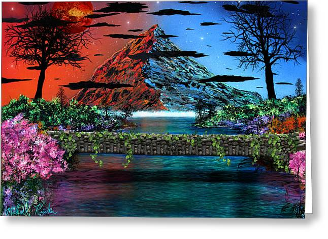 Pallet Knife Digital Greeting Cards - The Mountain Canal Greeting Card by Michael Rucker