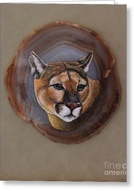 Fineartamerica Drawings Greeting Cards - The Mountain Lion Greeting Card by Bob Williams
