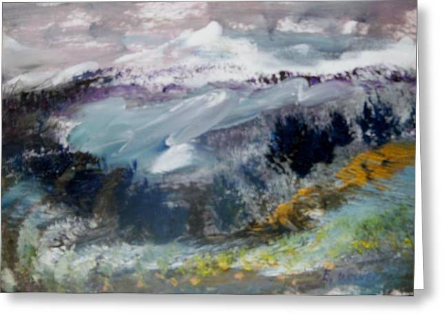 Slide Paintings Greeting Cards - The Mountain Slide Greeting Card by Edward Wolverton