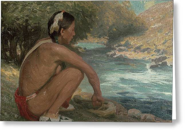 Squatting Greeting Cards - The Mountain Stream, C.1914 Greeting Card by Eanger Irving Couse