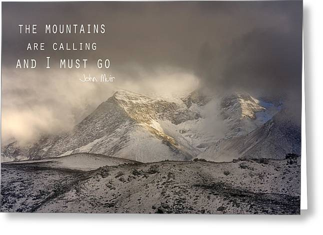 Nature Photos Photographs Greeting Cards - The Mountains are calling and I must go  John Muir Vintage Greeting Card by Guido Montanes Castillo