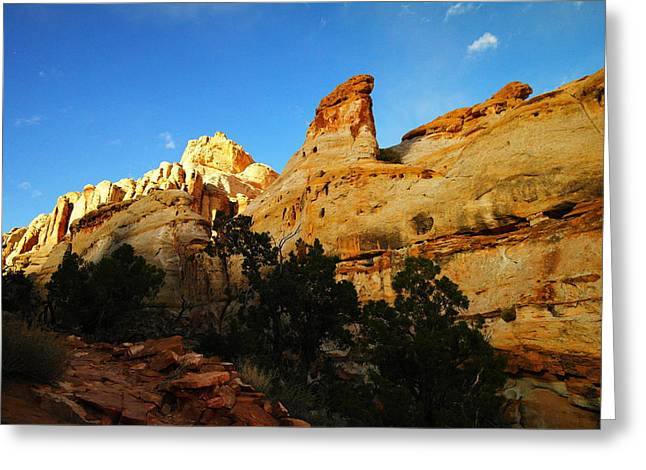 Monolith Greeting Cards - The Mountains Of Capital Reef   Greeting Card by Jeff  Swan