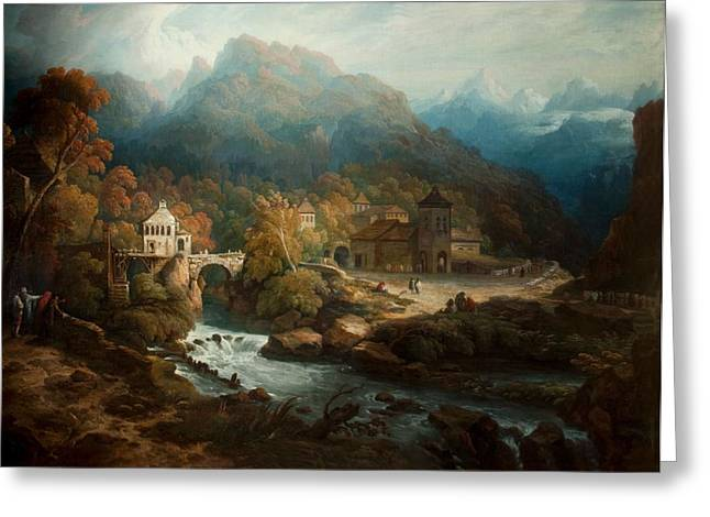 Italian Landscapes Greeting Cards - The Mountains Of Vietri Greeting Card by Philip Reinagle