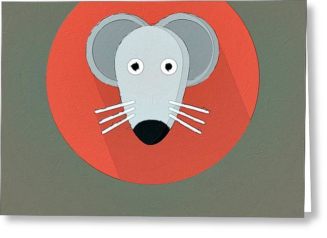 Mouse Greeting Cards - The Mouse Cute Portrait Greeting Card by Florian Rodarte