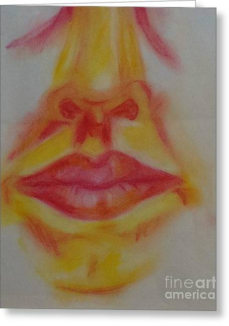 Lipstick Pastels Greeting Cards - The Mouth Greeting Card by Elizabeth Pritchett