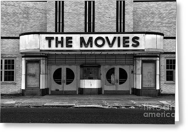 Hopeless Greeting Cards - The Movies - Black and White Greeting Card by Paul Ward