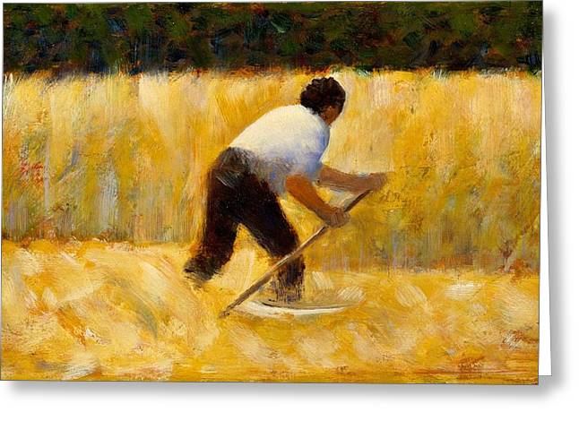 Seurat Greeting Cards - The Mower Greeting Card by Georges Seurat