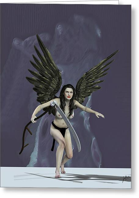 Seraphim Angel Greeting Cards - The mower souls. Greeting Card by Joaquin Abella