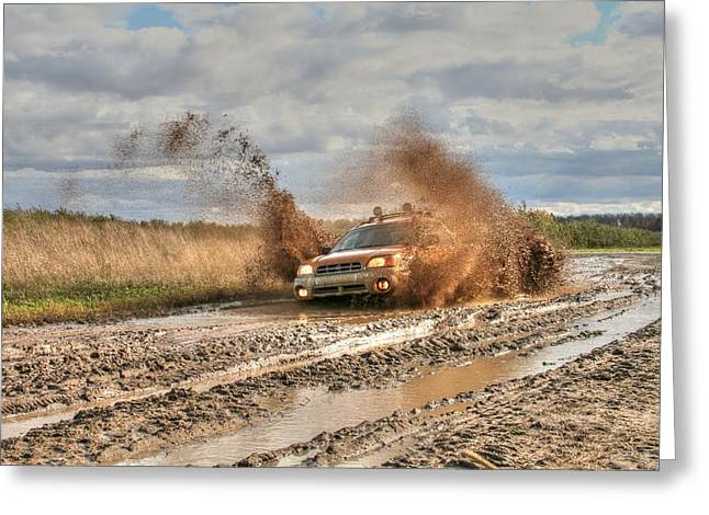 Aint Greeting Cards - The Mud Is Flying Greeting Card by Heather Allen