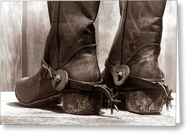 Black Boots Greeting Cards - The Muddy Boots Greeting Card by American West Legend By Olivier Le Queinec