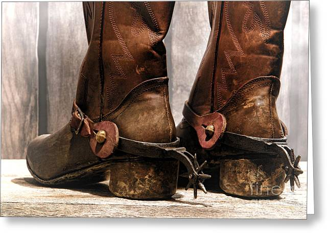 The Muddy Boots Greeting Card by Olivier Le Queinec