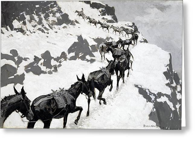 Remington Greeting Cards - The Mule Pack Greeting Card by Frederic Remington
