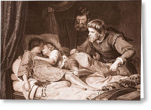 The Murder Of The Princes In The Tower Greeting Card by English School