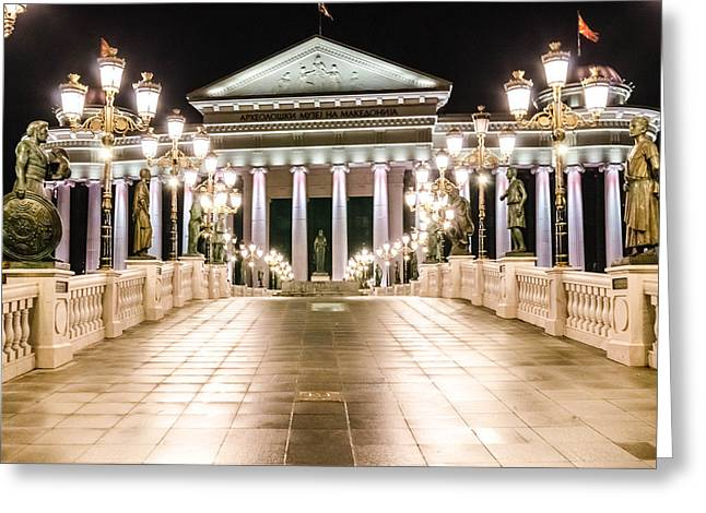 Big Chill Greeting Cards - The museum buildin at night. Greeting Card by Slavica Koceva