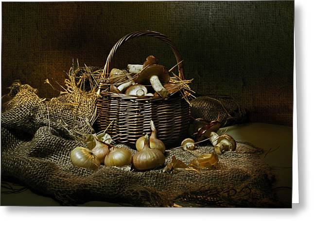 Edible Pyrography Greeting Cards - The mushrooms in the basket Greeting Card by Valerii Chalykh