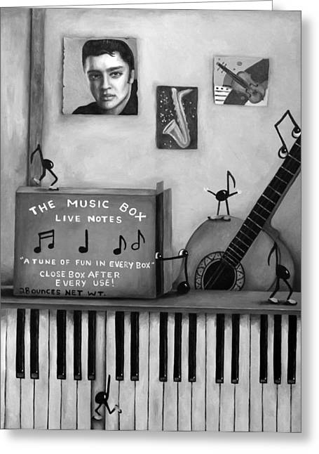 The Music Box Bw Greeting Card by Leah Saulnier The Painting Maniac
