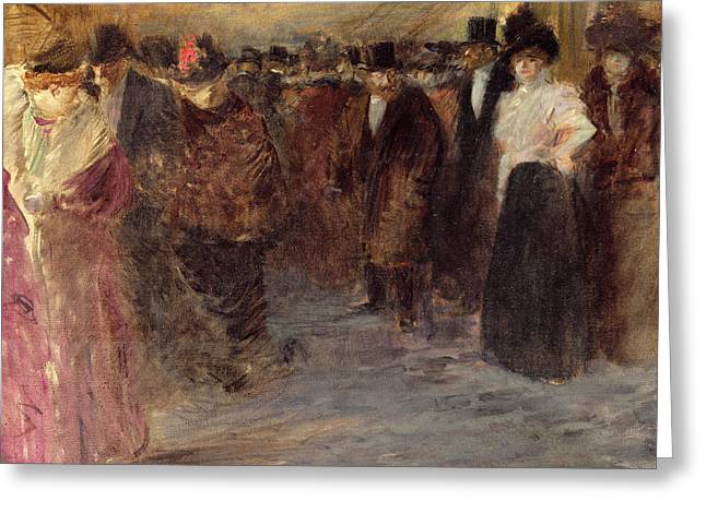 Evening Wear Paintings Greeting Cards - The Music Hall Greeting Card by Jean Louis Forain
