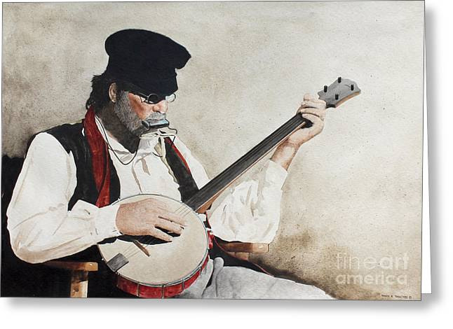 Re-enactor Greeting Cards - The Music Man Greeting Card by Monte Toon