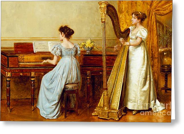 Lesson Greeting Cards - The Music Room Greeting Card by George Goodwin Kilburne