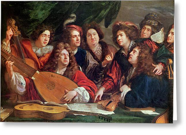 The Musical Society, 1688 Oil On Canvas Greeting Card by Francois Puget
