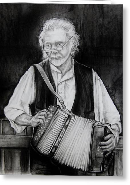Player Drawings Greeting Cards - The Musician Greeting Card by Jean Cormier