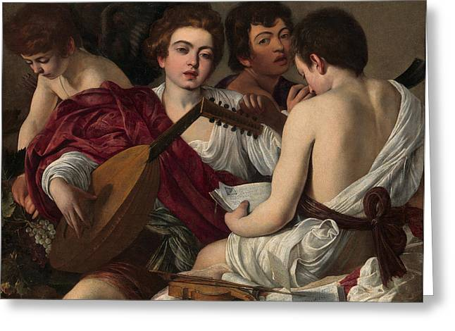 Michelangelo Greeting Cards - The Musicians Greeting Card by Caravaggio