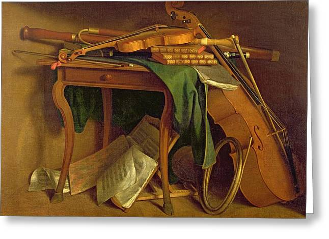 Table Greeting Cards - The Musicians Table, C.1760 Oil On Canvas Greeting Card by Henri Roland de la Porte