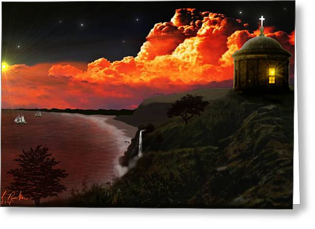 Beach At Night Digital Art Greeting Cards - The Mussenden Temple - Ireland Greeting Card by Michael Rucker