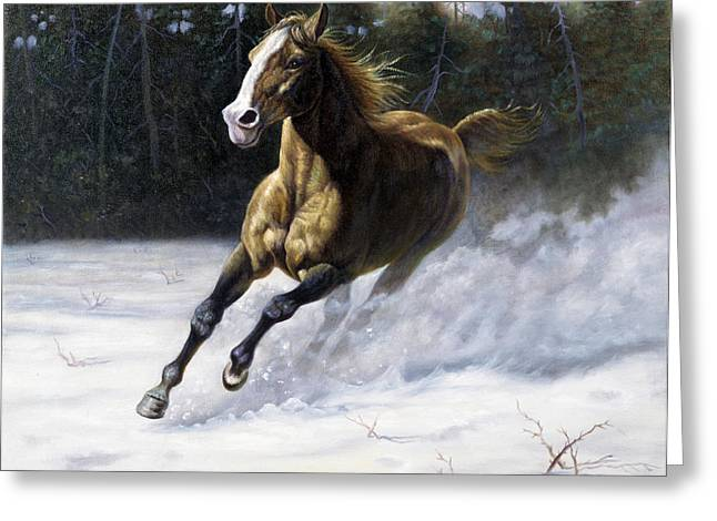 Western Art Digital Art Greeting Cards - The Mustang Greeting Card by Gregory Perillo