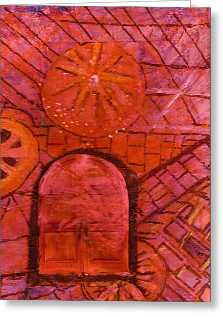 The Mysterious Door Greeting Card by Anne-Elizabeth Whiteway