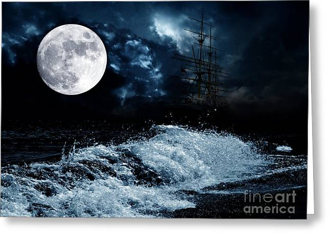 The Mysterious Moon Greeting Card by Boon Mee