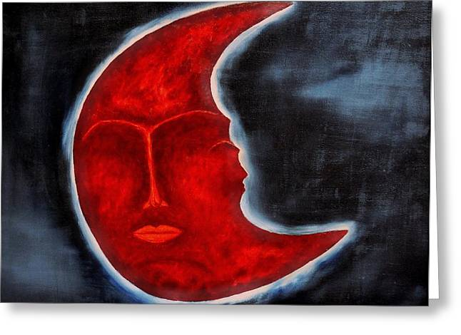 Mysterious Greeting Cards - The Mysterious Moon - Original Oil Painting Greeting Card by Marianna Mills