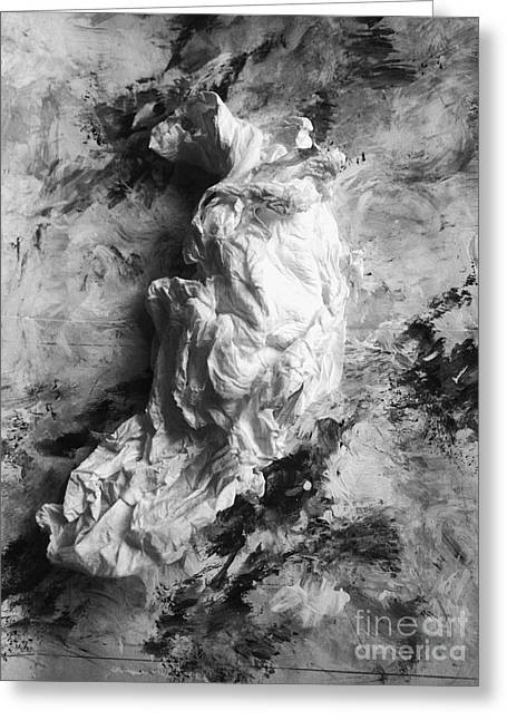 Black-and-white Sculptures Greeting Cards - The Mystery of Drapery Greeting Card by Nancy Kane Chapman
