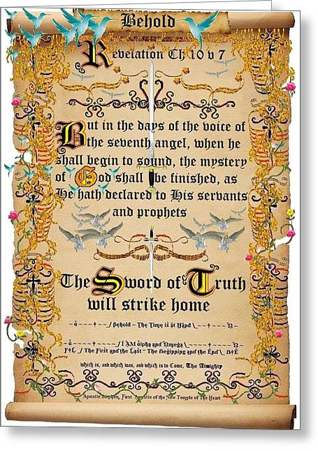 Calligraphy Print Digital Art Greeting Cards - The Mystery of God shall be finished Greeting Card by Stephen Kovacs