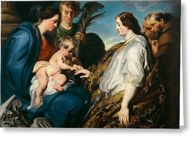 Betrothal Greeting Cards - The Mystic Betrothal of saint Catherina Greeting Card by Anthony van Dyck