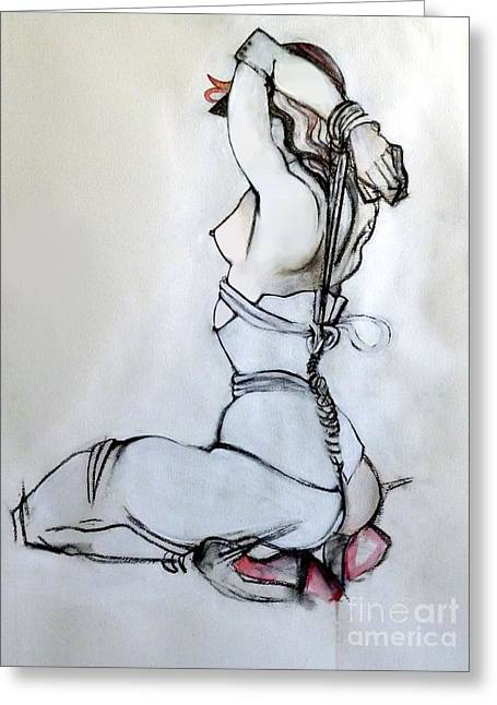 High Heeled Mixed Media Greeting Cards - The Mystic  Greeting Card by Carolyn Weltman