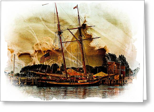 Historic Ship Greeting Cards - The Mystic Greeting Card by Marcia Lee Jones