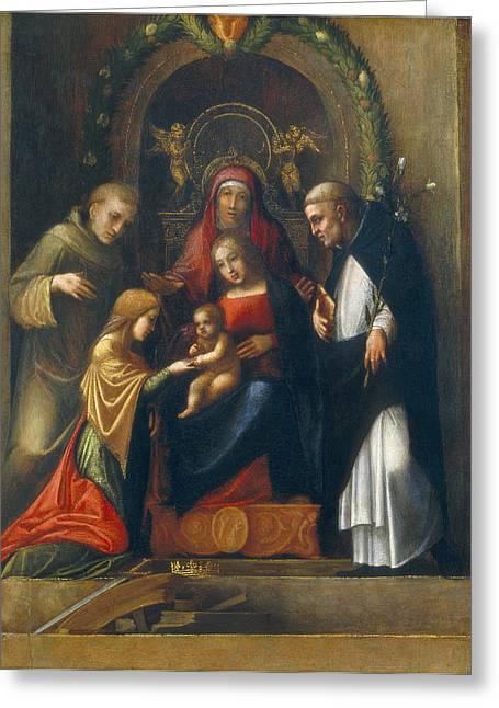 Alexandria Greeting Cards - The Mystic Marriage of St Catherine Greeting Card by Antonio Allegri Correggio