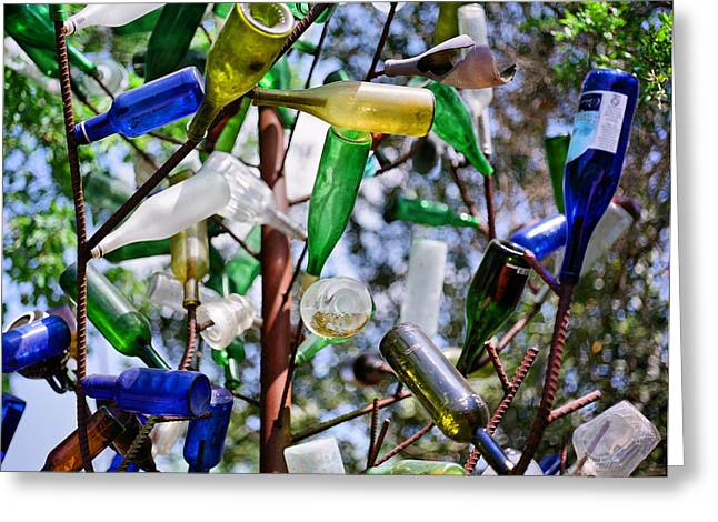 Glass Garden Greeting Cards - The Mystical Magical Bottle Tree Greeting Card by Linda Unger