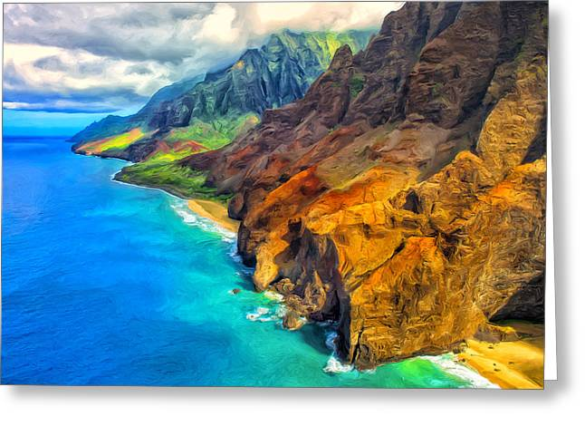 Recently Sold -  - Lahaina Greeting Cards - The Na Pali Coast of Kauai Greeting Card by Dominic Piperata