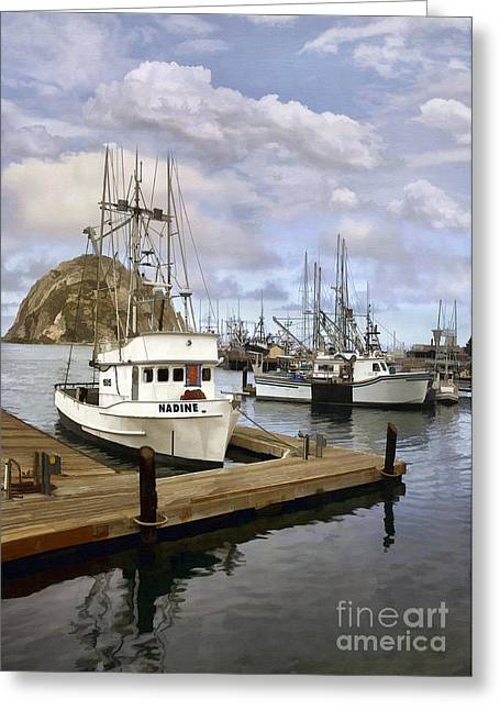 Morro Bay Harbor Greeting Cards - The Nadine Greeting Card by Sharon Foster