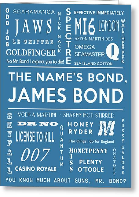 Secret Agent Greeting Cards - The names Bond in Blue Greeting Card by Nomad Art And  Design
