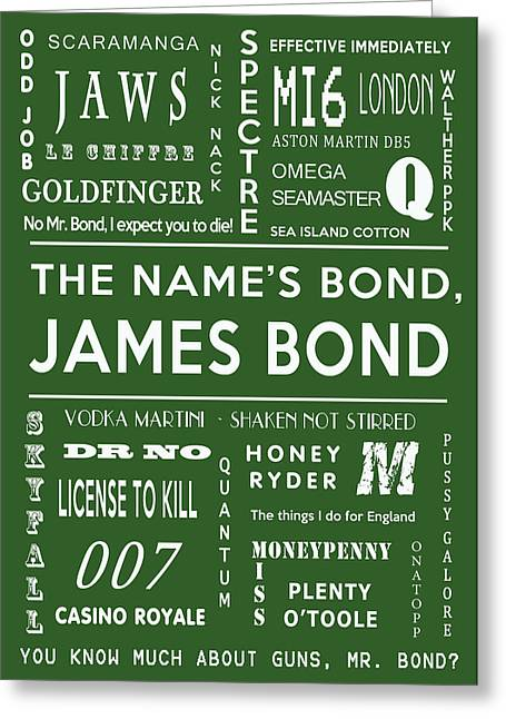 Secret Agent Greeting Cards - The names Bond in Green Greeting Card by Nomad Art And  Design